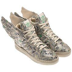 Jeremy Scott x adidas Originals JS Wings 'Money' Adidas Jeremy Scott Wings, Sneaker Posters, Wing Shoes, Toms Outlet, Slipper Boots, Rubber Shoes, Custom Shoes, Custom Sneakers, Adidas Shoes