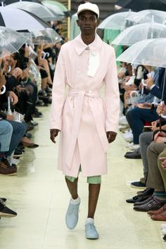 Garment Inspiration #4 - Kenzo Spring/Summer 2015. With a pink trench coat on a man, this male outfit demonstrates the gender equality aspect of Soft Pop. Men wearing 'women's clothing' is becoming a sight more and more popular in fashion.