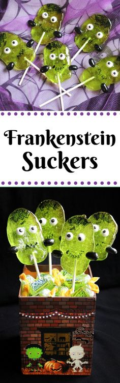You don't need lightning or a fancy laboratory to make these adorable creations. These cute Frankenstein Suckers are made using Green Apple Jolly Ranchers! These Jolly Rancher suckers really make the perfect treat to serve at, or bring to, a Halloween party.