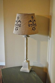 recovered lamp shade I need to do this for our bedroom lamps Burlap Lampshade, Lampshades, Recover Lamp Shades, Rustic Shabby Chic, Burlap Crafts, Bottle Lights, Decopage, Bedroom Lamps, Creative Inspiration