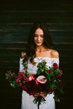 wide heart shaped red wedding bouquet
