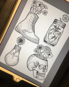 Louise has been busy drawing this morning and these are ready to go ! Follow the link to see more of her work or to book a consultation. #tattoo #tattoodesigns #custommade #drmartens #skulls #flowers #newtraditional