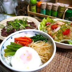 お野菜いっぱ~い\(^o^)/ - 11件のもぐもぐ - ビビンバ  焼き肉  スモークチキンサラダ by YokoIshikawa