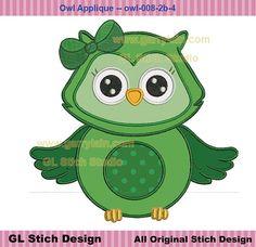 St. Patrick's Day Owl Applique, Machine Embroidery Digital Design,  clover stitch pattern for 4x4, 5x7, 6x10, 0wl-008-2b-4 on Etsy, $2.99
