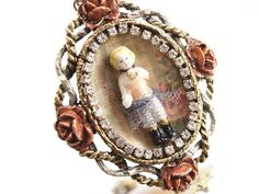 Charlotte & Roses Necklace Brooch OneofaKind by loreliekaydesigns