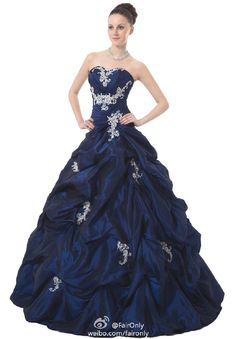 FairOnly Navy Strapless Women's Formal Ball Gown Prom Dress Size 6 8 10 12 14 16