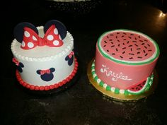 Minnie Mouse and Watermelon Smash Cake