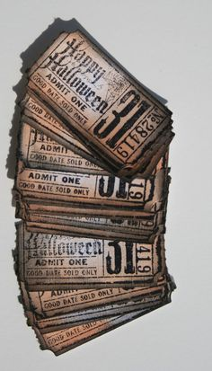 vintage halloween tickets, this would be great to send out invite cards for your Halloween Party!