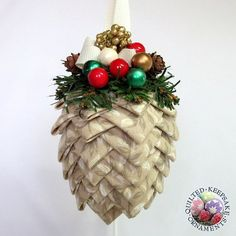 Neutral Pine Cone Quilted Christmas Ornament handmade by Renee: Quilted Keepsake Ornaments, SOLD, but I can make another one.  Just ask.
