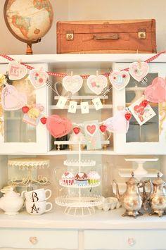 Vintage Valentine's Day display
