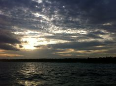 ocean and sky in Playa del Carmen just before the sun goes down
