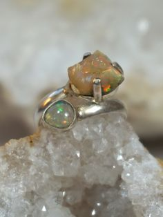 Ethiopian Opal Ring 2 with Fire Opal