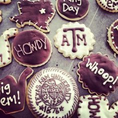 Aggie ring day cookies via www.sinfullysweetcake.com
