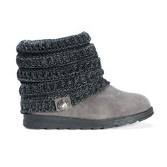 Grey faux suede winter ankle bootie with a charcoal sweater knit upper and decorative button.