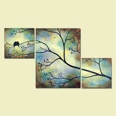 watercolor/blended colors for background, white silhouette tree