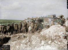 Battle of Flers-Courcelette. A Brigadier and his staff outside Tank 17 of D Company, which was used as his Headquarters. Near Flers, 21st September 1916