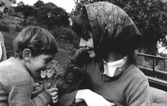Audrey Hepburn with son Sean Hepburn Ferrer and a baby goat in Spain, c. 1961 Photo by Mel Ferrer