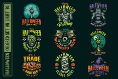 Colorful halloween spooky t-shirt designs. Each design have 3 versions: colored, B&W version for dark background, and B&W version for light background. 63 designs in total! Download halloween designs on www.dgimstudio.com. #vector #halloween #monster #spooky #vectorillustration