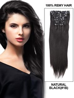 16 Inch 10pcs Straight Brazilian Clip In Remy Hair Extensions (#1B Natural Black) 135g