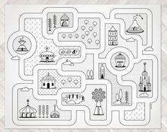 Road kaart City Rug / Kids City gebied Rug / grote door petekdesign