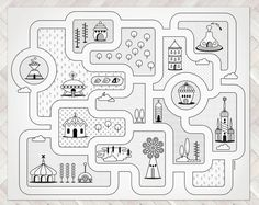 Road Map City Rug / Kids City Area Rug / Big Kids by petekdesign