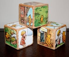 classic winnie the pooh baby shower   Winnie The Pooh Childrens Decorative Wooden Book by Booksonblocks