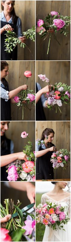 Learn how to make a lush hand tied garden bouquet. Tutorial with full instructions, flower names + photos, using peonies, ranunculus, clematis + poppies. via @confettidaydreams