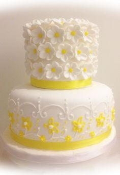 white cake yellow flowers - Google Search
