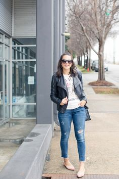 This fun Paris graphic tee is perfect with jeans and a leather jacket. See how style blogger, My Style Vita, rocks this fun tee.