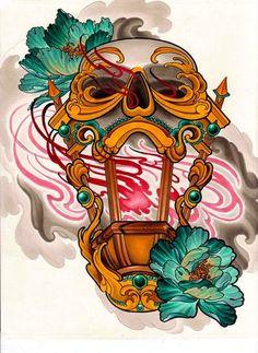 Skull lantern illustration painting by Merrick Ames. Japanese Tattoos For Men, Japanese Tattoo Art, Japanese Tattoo Designs, Kunst Tattoos, Skull Tattoos, Body Art Tattoos, Sleeve Tattoos, Neo Tattoo, Asian Tattoos