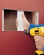 Simple method to patch large holes in wallboard. This Home Depot DIY video guide illustrates steps in filling up large holes in wallboard. How To Patch Drywall, Drywall Repair, Patching Drywall, Home Improvement Projects, Home Projects, Drywall Installation, Diy Home Repair, Wall Hanger, Key Hangers