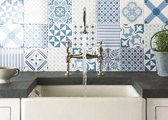 carreaux de ciment maroc blanc bleu Originalstyle