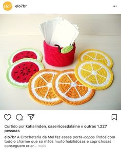 Fruits En Crochet, Crochet Food, Crochet Gifts, Crochet Yarn, Crochet Decoration, Crochet Home Decor, Crochet Coaster Pattern, Crochet Patterns, Yarn Projects