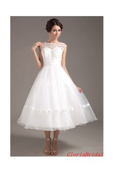 Lace Applique A-line Illusion Neckline White Organza Short Wedding Dress Tea Length Bridal Gown With Waistband -- Gbw317