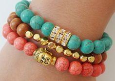 Green Chalk Turquoise SemiPrecious Gemstone Beaded Bracelet with Gold Rhinestone Rondelles jewelry bracelets bracelet diy bracelet jewelry ideas cute jewelry