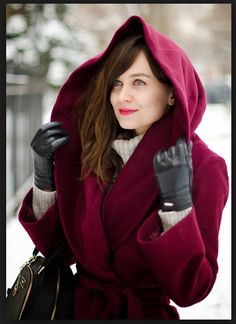 This hits all my tingle points: rich color, wool, practical-but-beautiful hood...Tahari Marla coat, BW CLEAR MERLOT