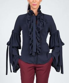This Dark Blue Ruffle-Trim Flare-Sleeve Button-Up Top is perfect! #zulilyfinds
