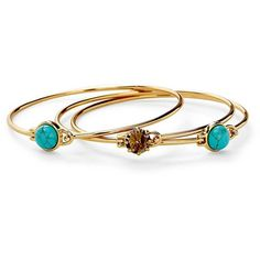 Rebecca Minkoff Boho Bangle Set ($98) ❤ liked on Polyvore featuring jewelry, bracelets, rings, rebecca minkoff, bohemian jewelry, hinged bracelet, boho bangles and boho jewelry