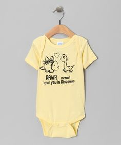 Rawr! This super-soft, bitty bodysuit lets dino darlings show their love it's an easily cleaned, stylish staple for a prehistoric player's wardrobe. Get it @ Zulily <3