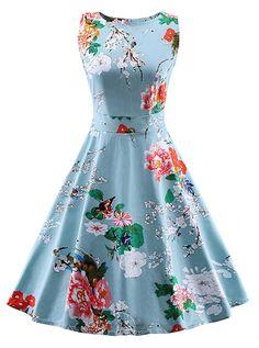 50s Light Blue Floral Print Tie-Waist Vintage Dress