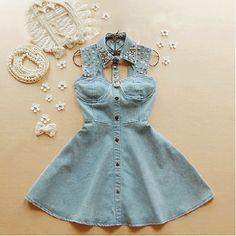 Vestido de jean con accesorios♥