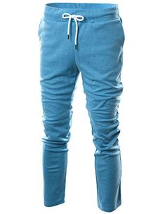 Ohoo Mens Slim Fit Lightweight Training Active Sweatpant/DCA001-SKYBLUE-S