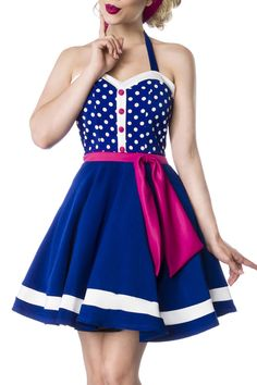 Gina Retro Blue White Belted Polka Dot Flare Dress