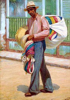 Miguel Pou Becerra (1880-1968), puertorriqueño. Es un pintor de paisajes, personajes y escenas costumbristas. Su intención es mostrar lo que ve y presentarlo de la manera más bella que le es posible, en un estilo que es considerado impresionista por el uso del color y la luz aunque, en muchos aspectos de su obra, sea un realista con una fuerte tendencia a la idealización. Los coches de Ponce es su mejor obra.