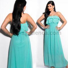 #Precioso #vestido largo efecto gasa con volantes. Disponible en 13 #colores y 2 #diseños. Más información siguiendo el enlace: http://www.agiltienda.com/es/1936-vestido-largo-efecto-gasa.html