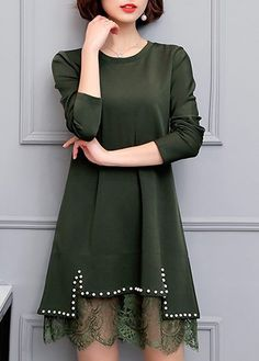 Long Sleeve Faux Pearl Embellished Army Green Dress