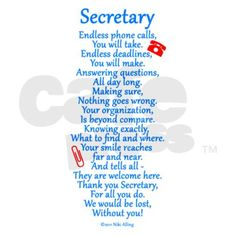 Thank your Secretary with this nice appreciation poem ~ written by Niki Alling. Volunteer Appreciation Gifts, Appreciation Quotes, Teacher Appreciation Week, Employee Appreciation, Principal Appreciation, Thank You Poems, Thank You Gifts, Your Teacher, Teacher Gifts