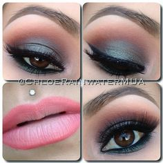 Soft smokey eyes with pink lips (to me, it looks like the eyes are a mixture of MAC copperplate with club on top & saddle or soba in the crease, with a little bit of embark)