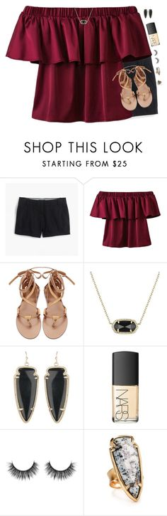 """""""For a Minute I Was Stone-Cold Sober"""" by southernstylish ❤ liked on Polyvore featuring J.Crew, Kendra Scott, NARS Cosmetics and Topshop"""