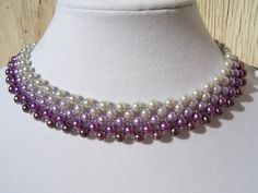 Silver Ice to Lavender to Plum Ombre Pearl Beadwork Necklace Choker Bib Collar with Silver Bead Accents